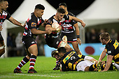 Suetena Asomua arrives in support for Sam Henwood as he gets tackled. Mitre 10 Cup rugby game between Counties Manukau Steelers and Taranaki Bulls, played at Navigation Homes Stadium, Pukekohe on Saturday August 10th 2019. Taranaki won the game 34 - 29 after leading 29 - 19 at halftime.<br /> Photo by Richard Spranger.