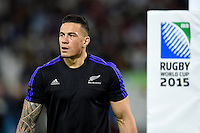 Sonny Bill Williams of New Zealand looks on during the pre-match warm-up. Rugby World Cup Pool C match between New Zealand and Namibia on September 24, 2015 at The Stadium, Queen Elizabeth Olympic Park in London, England. Photo by: Patrick Khachfe / Onside Images