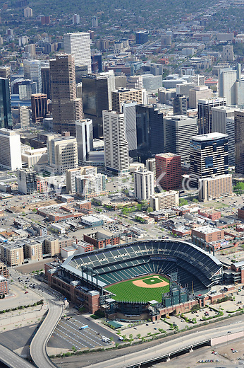 Aerial of Coors Field baseball stadium, Denver, Colorado