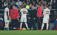 Manchester United manager Ole Gunnar Solskjaer and Mike Phelan give out instructions<br /> <br /> Photographer Rob Newell/CameraSport<br /> <br /> The Premier League - Wednesday 27th February 2019  - Crystal Palace v Manchester United - Selhurst Park - London<br /> <br /> World Copyright © 2019 CameraSport. All rights reserved. 43 Linden Ave. Countesthorpe. Leicester. England. LE8 5PG - Tel: +44 (0) 116 277 4147 - admin@camerasport.com - www.camerasport.com