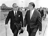 Washington, DC - July 6, 2009 -- Former United States Secretary of Defense Robert S. McNamara, Architect of Vietnam War, died in his sleep at his home in Washington in the early morning of Monday, July 6, 2009. McNamara, who served as Secretary of Defense under Presidents Kennedy and Johnson, was 93.  This file photo from May 13, 1966 pictures McNamara, right, escorting Minister of Defense Kai-Uwe von Hassel of West Germany into the Pentagon after a Full Honors Ceremony in von Hassel's honor..Credit: Arnie Sachs / CNP