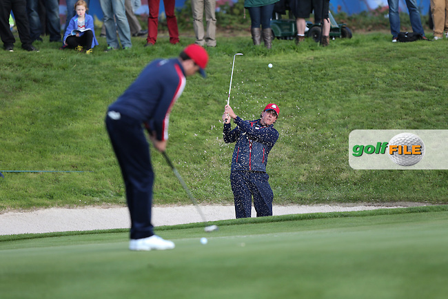 Phil Mickelson (USA) bunker practice during the 2014 Ryder Cup from Gleneagles, Perthshire, Scotland. Picture:  David Lloyd / www.golffile.ie