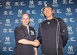 (L-R) Brian Cashman, Hideki Matsui (Yankees),<br /> MARCH 11, 2015 - MLB :<br /> Former New Yor Yankees outfielder Hideki Matsui attends a press conference to announce his appointment as Yankees' special adviser to general manager Brian Cashman in Tampa, Florida, United States. (Photo by Thomas Anderson/AFLO) (JAPANESE NEWSPAPER OUT)