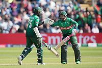 Mushfiqur Rahim (Bangladesh) congratulates Shakib Al Hasan (Bangladesh) on has half century during England vs Bangladesh, ICC World Cup Cricket at Sophia Gardens Cardiff on 8th June 2019