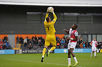 Scott Loach of Barnet jumps and catches a cross during Barnet vs Woking, Vanarama National League Football at the Hive Stadium on 12th October 2019