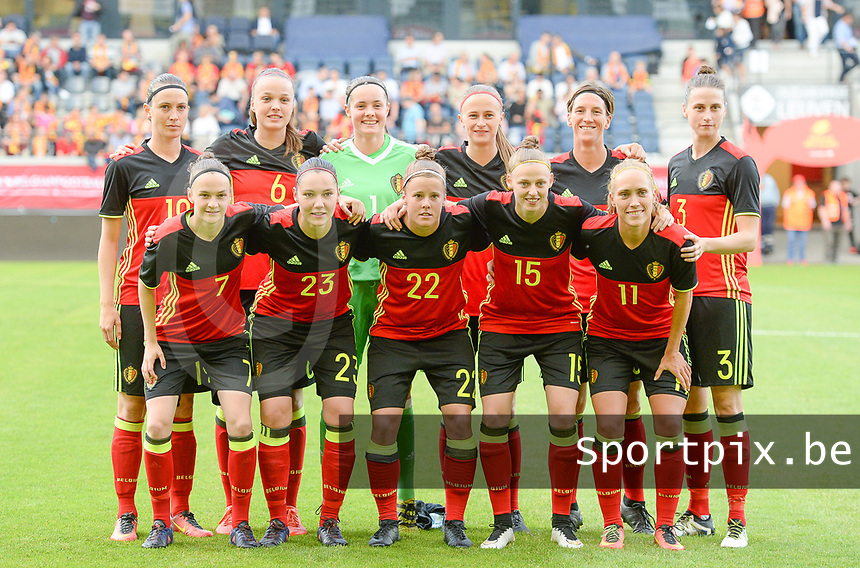 20170613 - LEUVEN ,  BELGIUM : Belgian team pictured with Diede Lemey (1) , Heleen Jaques (3) , Tine De Caigny (6) , Elke Van Gorp (7) , Aline Zeler (10) , Janice Cayman (11) , Yana Daniels (15) , Imke Courtois (19) , Julie Biesmans (20) , Laura Deloose (22) and Elien van Wynendaele (23) during the friendly female soccer game between the Belgian Red Flames and JAPAN , a friendly game in the preparation for the European Championship in The Netherlands 2017  , Tuesday 13 th June 2017 at Stadion Den Dreef  in Leuven , Belgium. PHOTO SPORTPIX.BE | DAVID CATRY
