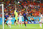 (L to R) <br /> Iker Casillas (ESP), <br /> Robin Van Persie (NED), <br /> JUNE 13, 2014 - Football /Soccer : <br /> 2014 FIFA World Cup Brazil <br /> Group Match -Group B- <br /> between Spain 1-5 Netherlands <br /> at Arena Fonte Nova, Salvador, Brazil. <br /> (Photo by YUTAKA/AFLO SPORT) [1040]