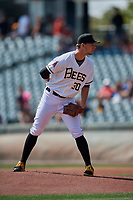 Salt Lake Bees starting pitcher Alex Klonowski (30) looks to his catcher for the sign against the Fresno Grizzlies at Smith's Ballpark on September 4, 2017 in Salt Lake City, Utah. Fresno defeated Salt Lake 9-7. (Stephen Smith/Four Seam Images)