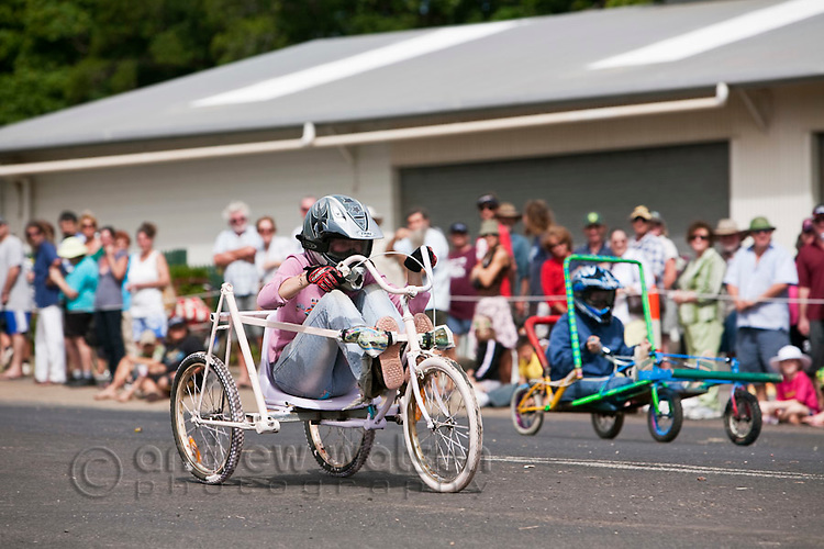 Billy-cart racing during the annual Cooktown Discovery Festival (held in June).  Cooktown, Queensland, Australia