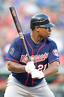 Minnesota Twins outfielder Delmon Young #21 at bat during a Major League Baseball game against the Texas Rangers at the Rangers Ballpark in Arlington, Texas on July 27, 2011. Minnesota defeated Texas 7-2.  (Andrew Woolley/Four Seam Images)