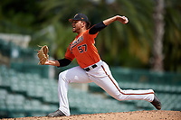 Baltimore Orioles pitcher Jayvien Sandridge (57) delivers a pitch during a Florida Instructional League game against the Philadelphia Phillies on October 4, 2018 at Ed Smith Stadium in Sarasota, Florida.  (Mike Janes/Four Seam Images)
