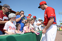 Philadelphia Phillies outfielder Kelly Dugan (72) signs autographs before an exhibition game against the University of Tampa on March 1, 2015 at Bright House Field in Clearwater, Florida.  University of Tampa defeated Philadelphia 6-2.  (Mike Janes/Four Seam Images)