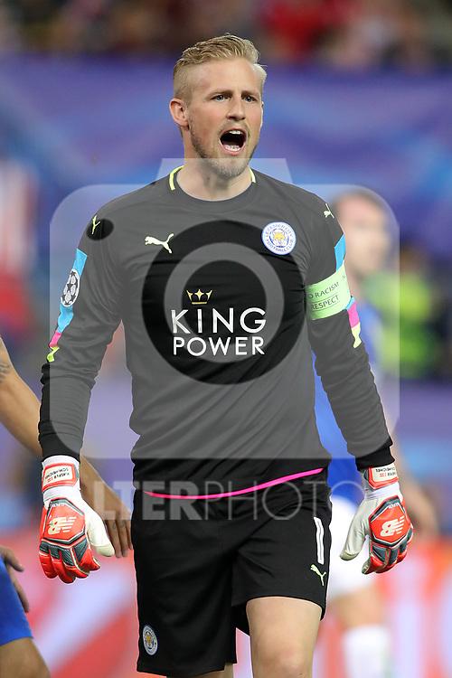 Leicester City FC's Kasper Schmeichel during Champions League 2016/2017 Quarter-finals 1st leg match. April 12,2017. (ALTERPHOTOS/Acero)