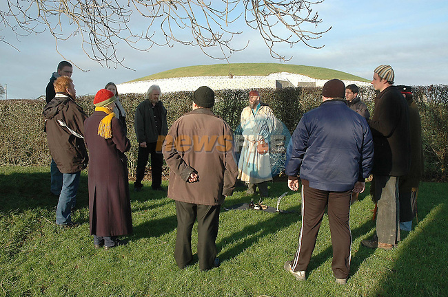The Dark Moon Grove druids take part in their annual Winter Sun Standing ceremony  at newsgrange on Friday led by Arch Druid Con Connor. Photo: Andy Spearman/Newsfile.<br />