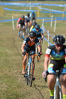 NWA Democrat-Gazette/ANDY SHUPE<br /> Emily Werner (18) competes Saturday, Oct. 5, 2019, during the inaugural FayetteCross two-day cyclocross race series on Millsap Mountain at Centennial Park in Fayetteville. Visit nwadg.com/photos to see more photographs from the race.