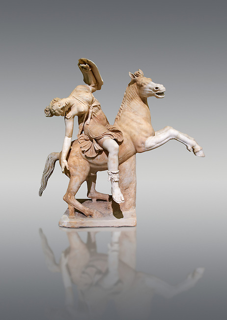 Roman marble sculpture of an Amazon on horseback, a 2nd century AD copy from an original 2nd century BC Hellanistic Greek original, inv 6407 Farnese Collection, Naples Naples Museum of Archaeology, Italy