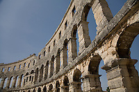 The 1st century Roman amphitheater is the major attraction at Pula located on the Istrian peninsula of Croatia.