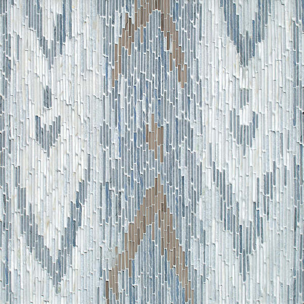 Maya, a hand-cut tumbled mosaic, shown in Afyon White, Blue Macauba, Celeste, and Driftwood, is part of the Tissé® collection for New Ravenna.