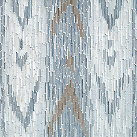 Maya, a hand-cut tumbled mosaic, shown in Afyon White, Blue Macauba, Celeste, and Driftwood, is part of the Tissé™ collection for New Ravenna.