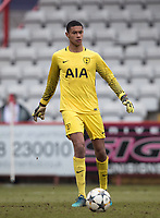 Goalkeeper Brandon Austin of Spurs U19 during the UEFA Youth League round of 16 match between Tottenham Hotspur U19 and Monaco at Lamex Stadium, Stevenage, England on 21 February 2018. Photo by Andy Rowland.