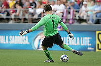 Troy Perkins kicks out the ball. USA defeated Grenada 4-0 during the First Round of the 2009 CONCACAF Gold Cup at Qwest Field in Seattle, Washington on July 4, 2009.