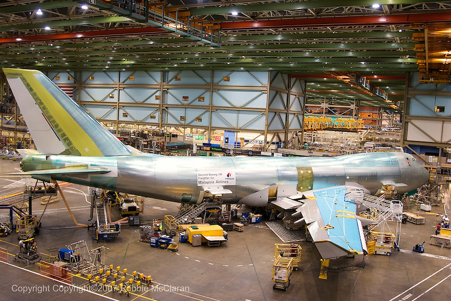 Boeing 747 for Malaysia Airlines during final assembly process at Boeing Everett plant, Everett Washington