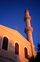Greece. Crete. Chania Old Town. Ayios Nikolaos Church and Turkish Minaret