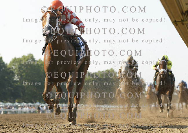 Just Jenda and Jockey Gabriel Saez cruise to victory in the $200,000 Monmouth Oaks at Monmouth Park in Oceanport, N.J. on Saturday August 15, 2009.  Photo By Bill Denver/EQUI-PHOTO