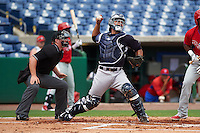 New York Yankees Eduardo Navas (79) throws down to second in front of umpire Chris Marco during an instructional league game against the Philadelphia Phillies on September 29, 2015 at Brighthouse Field in Clearwater, Florida.  (Mike Janes/Four Seam Images)