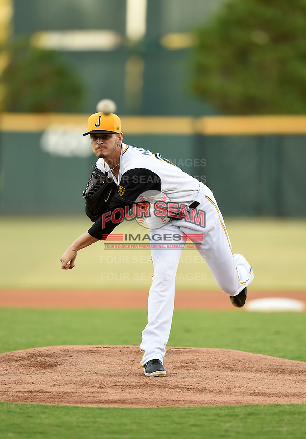 Jacksonville Suns starting pitcher Justin Nicolino (22) delivers a warmup pitch during game three of the Southern League Championship Series against the Chattanooga Lookouts on September 12, 2014 at Bragan Field in Jacksonville, Florida.  Jacksonville defeated Chattanooga 6-1 to sweep three games to none.  (Mike Janes/Four Seam Images)