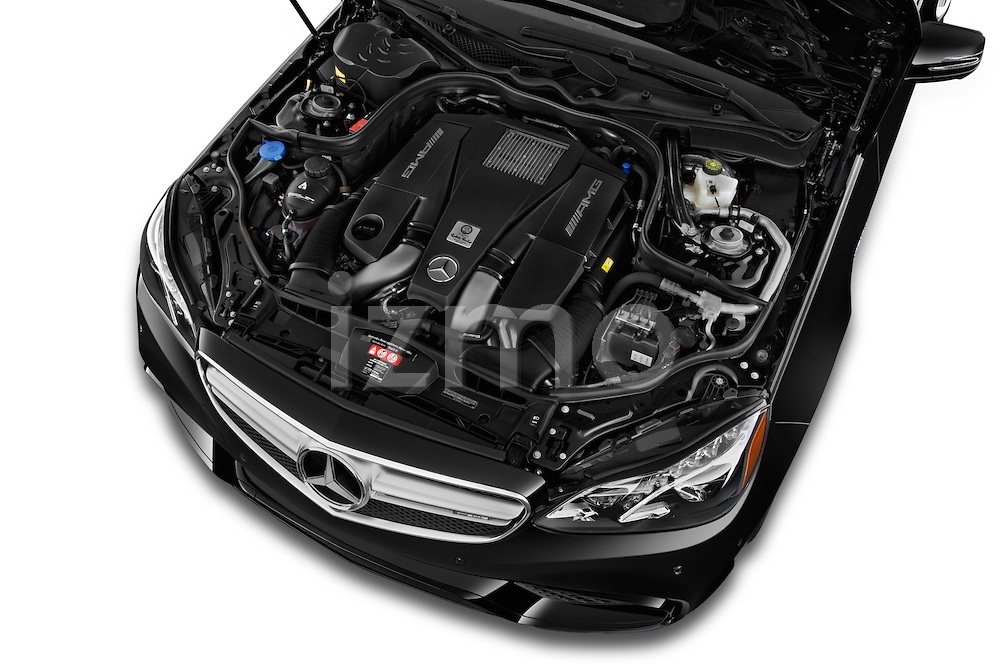 Car Stock 2015 Mercedes Benz E Class E63 AMG S 5 Door Wagon Engine high angle detail view