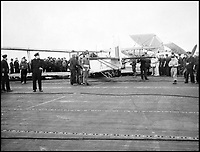 BNPS.co.uk (01202 558833)Pic: CharterhouseAuctioneers/BNPS<br /> <br /> A Swordfish biplane crash lands onto HMS Fencer during the heavy seas.<br /> <br /> A remarkable wartime photo album that highlights the perilous nature of landing a fighter plane on an aircraft carrier in heavy seas has been unearthed.<br /> <br /> The black and white snaps show several Royal Naval aircraft coming a cropper while attempting to land on board HMS Fencer often in heavy seas.<br /> <br /> One set of images depict a Swordfish biplane crashing into the sea a few hundred yards off the aircraft carrier HMS Fencer.<br /> <br /> Other photos show a Supermarine Seafire about the crash into the superstructure.<br /> <br /> The album will be sold by Charterhouse Auctioneers in Sherborne, Dorset.