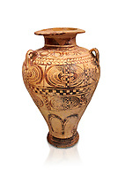 """Minoan """"Palace Style"""" clay decorated jars from the  Knossos-Isopata """"Royal Tomb"""" 1600-1500 BC BC, Heraklion Archaeological  Museum."""