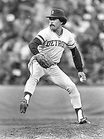 Detroit pitcher Willie Hernandez in the 1984 All-Star game in San Francisco. (Ron Riesterr/photo)