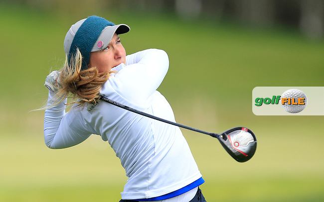 Madelene Stavnar (NOR) on the 13th tee during Round 3 of the Irish Girl's Open Stroke Play Championship at Roganstown Golf &amp; Country Club on Sunday 17th April 2016.<br /> Picture:  Thos Caffrey / www.golffile.ie