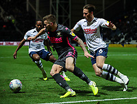 Leeds United's Stuart Dallas shields the ball from Preston North End's Ben Davies<br /> <br /> Photographer Alex Dodd/CameraSport<br /> <br /> The EFL Sky Bet Championship - Preston North End v Leeds United - Tuesday 22nd October 2019 - Deepdale Stadium - Preston<br /> <br /> World Copyright © 2019 CameraSport. All rights reserved. 43 Linden Ave. Countesthorpe. Leicester. England. LE8 5PG - Tel: +44 (0) 116 277 4147 - admin@camerasport.com - www.camerasport.com