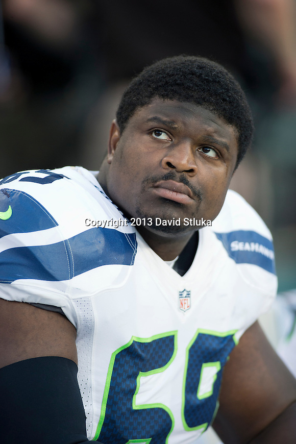 Seattle Seahawks defensive lineman Clinton McDonald (69) looks on during an NFL preseason week 3 football game against the Green Bay Packers Thursday, August 23, 2013, in Green Bay, Wis. The Seahawks won 17-10 . (Photo by David Stluka)