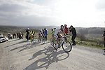 The breakaway group, Marco Frapporti (ITA) Androni Giocattoli, Angelo Pagani (ITA) Bardiani CSF, Davide Frattini (ITA) United Healthcare and Andrea Fedi (ITA) Yellow Fluo, tackle the 7th sector of strade the climb of Monte Sante Maria during the 2014 Strade Bianche race over the white dusty gravel roads of Tuscany running 200km from San Gimignano to Siena, Italy. 8th March 2014.<br /> Picture: Eoin Clarke www.newsfile.ie