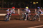 Lakeside Hammers v Swindon Robins<br /> Elite League<br /> Friday 5th April 2013<br /> Arena-Essex<br /> Heat Four<br /> Davy Watt (Red), Rob Mear (Blue), Troy Batchelor (White), Peter Gomolski (Yellow)