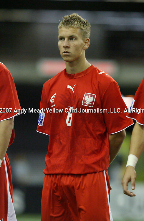 30 June 2007: Poland's Adam Danch. At Le Stade Olympique in Montreal, Quebec, Canada. Poland's Under-20 Men's National Team defeated Brazil's Under-20 Men's National Team 1-0 in a Group D opening round match during the FIFA U-20 World Cup Canada 2007 tournament.