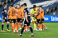 29th July 2020; Bankwest Stadium, Parramatta, New South Wales, Australia; A League Football, Melbourne Victory versus Brisbane Roar; Scott McDonald of Brisbane Roar celebrates with Jamie Young after scoring to make it 1-0 in the 56th minute