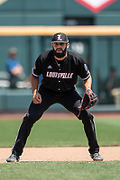 Louisville Cardinals third baseman Alex Binelas (13) on defense during Game 3 of the NCAA College World Series against the Vanderbilt Commodores on June 16, 2019 at TD Ameritrade Park in Omaha, Nebraska. Vanderbilt defeated Louisville 3-1. (Andrew Woolley/Four Seam Images)