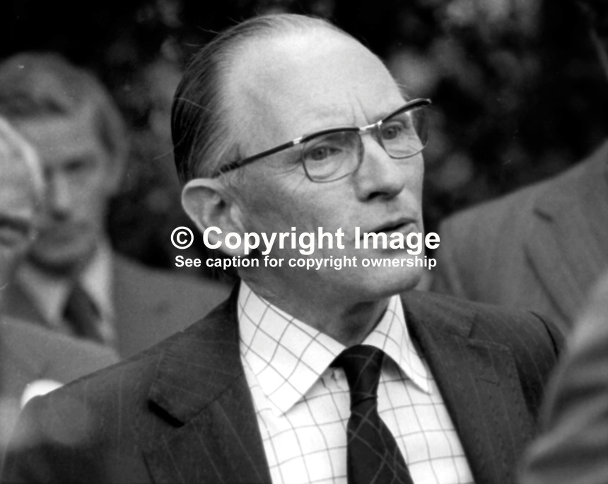 Eric Montgomery, who set up the Northern Ireland Government's Information Service in 1956. He was also the driving force behind the setting up of the ULster-American Folk Park at Camphill, near Omagh, Co Tyrone where he is seen at the official opening ceremony which was attended by the US Ambassador to the UK, Elliot Richardson on 30th July 1975. 197507300567d<br /> <br /> Copyright Image from Victor Patterson, 54 Dorchester Park, Belfast, UK, BT9 6RJ<br /> <br /> Tel: +44 28 9066 1296<br /> Mob: +44 7802 353836<br /> Voicemail +44 20 8816 7153<br /> Email: victorpatterson@me.com<br /> <br /> <br /> IMPORTANT: If you wish to use this image or any other of my images please go to www.victorpatterson.com and click on the Terms &amp; Conditions. Then contact me by email or phone with the reference number(s) of the image(s) concerned.