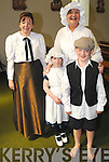 LIZ O SULLIVAN, TEACHER, MAURA LANDERS, RACHELL O SULLIVAN, SEAN O SHEA, DRESSED IN COSTUME AT THE 150TH CELEBRATIONS,OF LAURAGH SCHOOL, MASS WAS CELEBRATED BY FR SHEEHAN IN THE PARISH CHURCH THEN PUPILS PAST AND PRESENT ENJOYED A DISPLAY OF SCHOOL PHOTOS IN THE COMMUNITY CENTRE