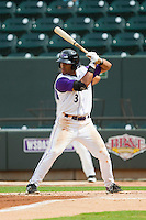 Micah Johnson (3) of the Winston-Salem Dash at bat against the Myrtle Beach Pelicans at BB&T Ballpark on July 7, 2013 in Winston-Salem, North Carolina.  The Pelicans defeated the Dash 6-5 in 8 innings in game two of a double-header.  (Brian Westerholt/Four Seam Images)