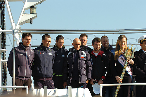08.03.2011 Tirreno Adriatico, La Corsa dei Due Mari. Press conference day at Marina di Carrara, Tuscany. Picture shows  Hushovd Thor, Cavendish Mark, Petacchi Alessandro, Garzelli Stefano, Basso Ivan, Nibali Vincenzo and Cancellara Fabian.