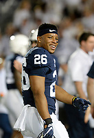 STATE COLLEGE, PA - OCTOBER 21:  Penn State RB Saquon Barkley (26) smiles during warm ups. The Penn State Nittany Lions defeated the Michigan Wolverines 42-13 on October 21, 2017 at Beaver Stadium in State College, PA. (Photo by Randy Litzinger/Icon Sportswire)