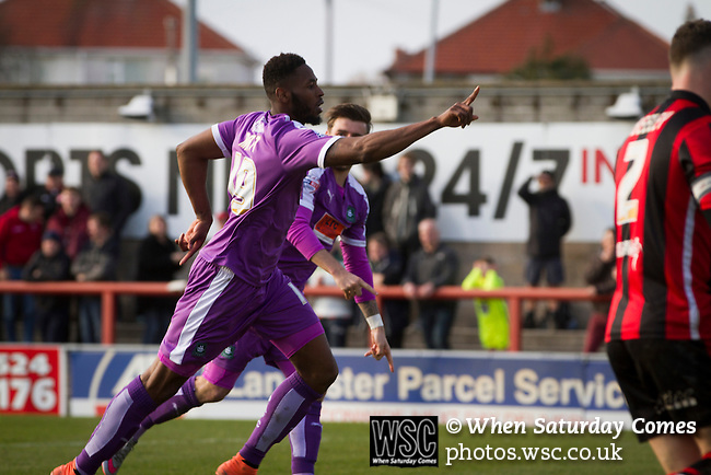 Morecambe 0 Plymouth Argyle 2, 25/03/2016. Globe Arena, League 2. Visiting forward Jamille Matt celebrates his side's second goal as Morecambe hosted Plymouth Argyle in a League 2 fixture at the Globe Arena. The stadium was opened in 2010 and replaced Morecambe's traditional home of Christie Park which had been their home since 1921, the year after their foundation. Plymouth won this fixture by 2-0 watched by 2,081 spectators, in a game delayed by 30 minutes due to traffic congestion affecting travelling Argyle fans. Photo by Colin McPherson.