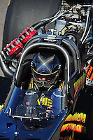 Oct. 16, 2011; Chandler, AZ, USA; NHRA top fuel dragster driver Troy Buff during the Arizona Nationals at Firebird International Raceway. Mandatory Credit: Mark J. Rebilas-