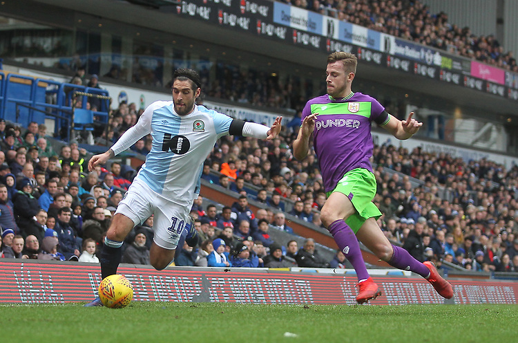 Blackburn Rovers Danny Graham in action with Bristol City's Adam Webster<br /> <br /> Photographer Mick Walker/CameraSport<br /> <br /> The EFL Sky Bet Championship - Blackburn Rovers v Bristol City - Saturday 9th February 2019 - Ewood Park - Blackburn<br /> <br /> World Copyright &copy; 2019 CameraSport. All rights reserved. 43 Linden Ave. Countesthorpe. Leicester. England. LE8 5PG - Tel: +44 (0) 116 277 4147 - admin@camerasport.com - www.camerasport.com